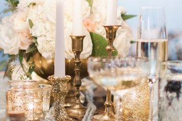 decoración dorada y plateada boda